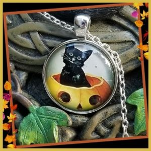 New! Kitty in a Pumpkin Necklace